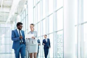 Businessman and businesswomen brainstorming