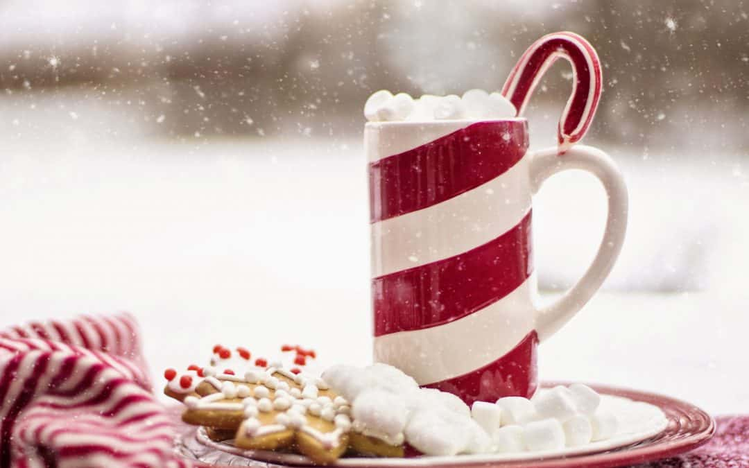 Candy cane hot chocolate drink at Christmas time