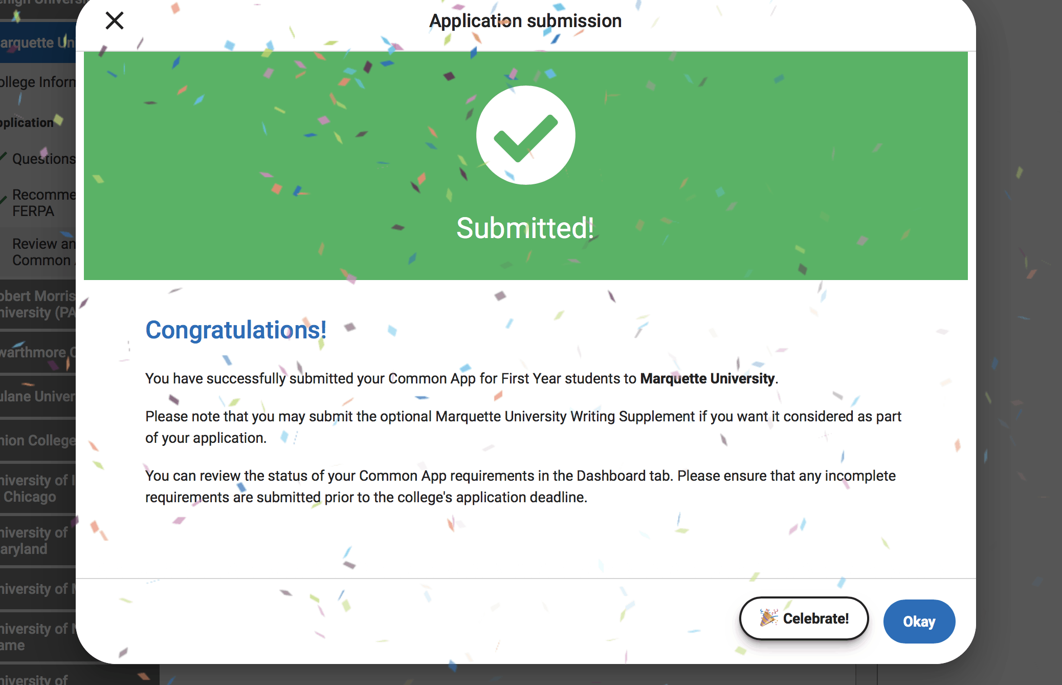 Common App Confetti After You Hit the Submit Button